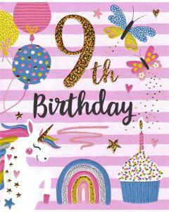 AGE 9 Card - Butterflies & Balloons