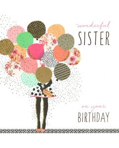 SISTER Birthday Card - Pretty Balloons