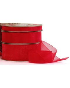 Ribbon Roll - Organza RED (25mm x 50 metre)