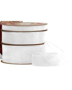 Ribbon Roll - Organza WHITE (25mm x 50 metre)
