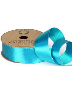 Ribbon Roll- Satin Pearl TURQUOISE/GOLD (25mm x 10 metres)
