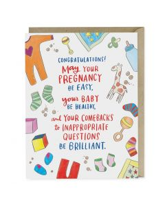 'Congratulations! May Your Pregnancy Be Easy...' Card