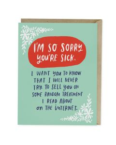 GET WELL Card - So Sorry You're Sick