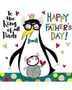 Father's Day Card - Penguins 'King of All Dads'