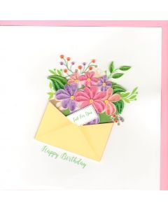 Quilling Card -  Birthday Floral Envelope