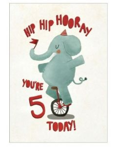 Age 5 Birthday - Elephant on unicycle