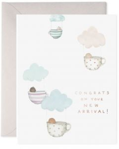 BABY card - Floating teacups