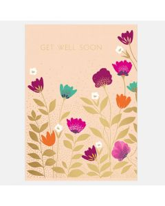 Get Well - Colourful flowers with gold foil leaves