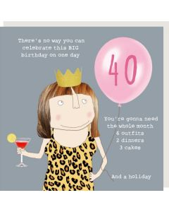 AGE 40 Card - Cakes and A Holiday