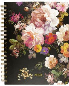 16-month (Sept 2020-Dec 2021) Desk Engagement Calendar - Midnight Floral