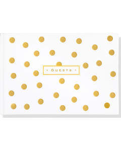 Gold Dots Leather Guest Book