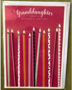 Granddaughter Birthday - Long Candles on Pink