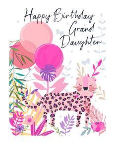 Granddaughter Birthday - Leopard & balloons