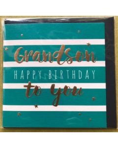 Grandson Birthday - Teal & white stripe
