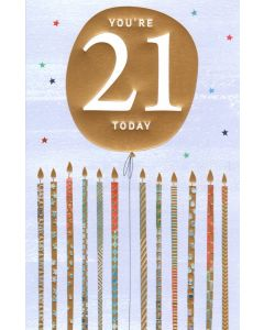 AGE 21 Card - Gold Candles
