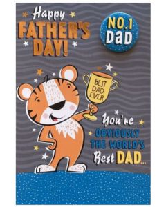 Father's Day Card - Tiger & Trophy (includes removable badge)