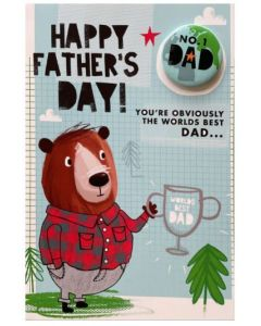 Father's Day - Bear, trophy & No. 1 DAD badge