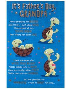 Grandpa Father's Day - Fun Turtle on blue