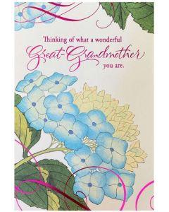 Great-Grandmother Birthday - Blue hydrangea flower