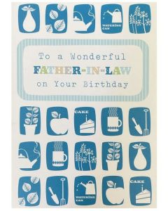 Father-in-law birthday - Small white icons on blue