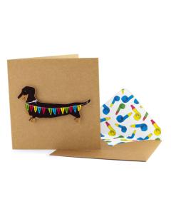 Birthday Card - Dachshund with Bunting