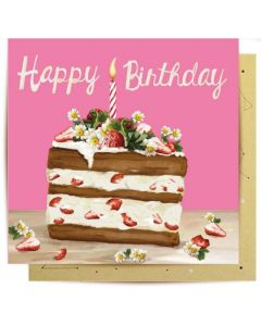 Birthday gift card - Slice of cake & candle