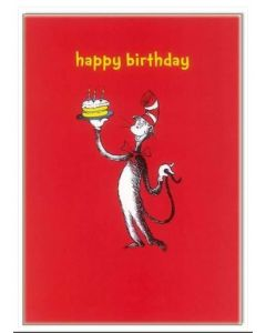 Happy Birthday - Cat in the Hat on red