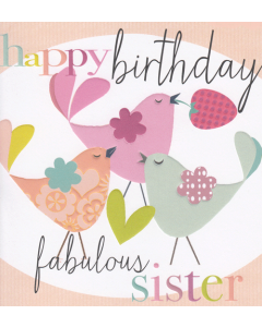 'Happy Birthday Fabulous Sister' Card