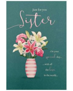 Sister - Lilies & roses in striped vase