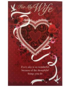 Valentine Card - To My WIFE (Rose Heart)