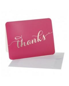 Thank You Cards - Cerise/Gold (10 cards)