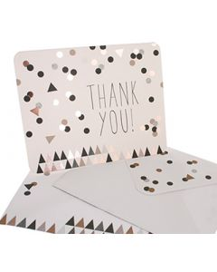 Thank You Cards - Confetti Black/Gold (10 cards)