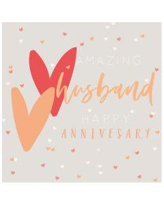 Husband Anniversary Card - Two Hearts
