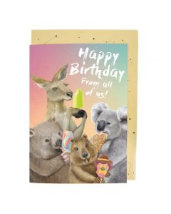 Aussie animals & ice creams - BIG birthday card