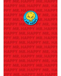 Mr. Happy I am happy badge greeting card