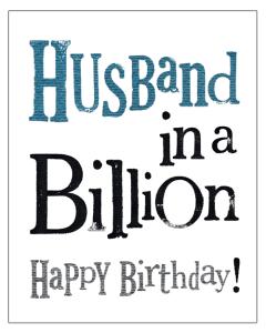 'Husband in a Billion. Happy Birthday!' Card