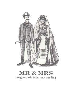 """Mr & Mrs congratulations on your wedding""  Letterpress Card"