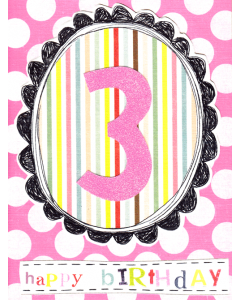 '3 Happy Birthday' Card