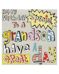 """Happy Birthday To A Special Grandson"" Greeting Card"