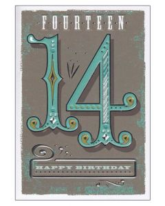 """Fourteen Happy Birthday"" Greeting Card"
