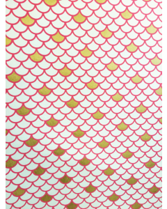 Pink/Gold Scale Folded Wrapping Paper