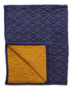 Quilted Blanket - reversible - Blue/Mustard
