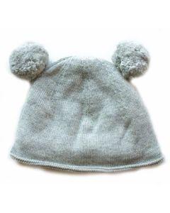 Double pom pom hat - Grey