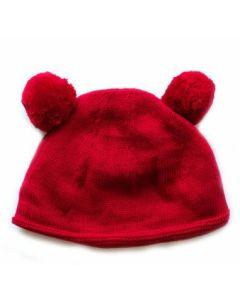 Double pom pom hat - RED
