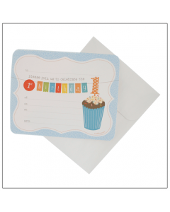 1st Birthday Blue Invitations
