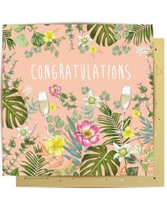 Congratulations Card - Flowers & Champagne