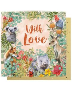 Greeting Card - 'With Love' Australian Animals