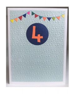AGE 4 Card - Party Bunting