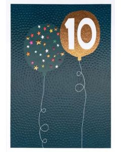 AGE 10 Card - Balloons on Blue