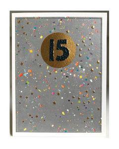 AGE 15 Card - Gold Stars on Grey
